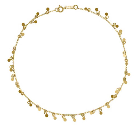 "14K Gold Circles Dangle 10"" Anklet"