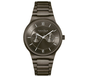Caravelle New York Men's Gunmetal Watch w/ Multifunction Dial - J344451