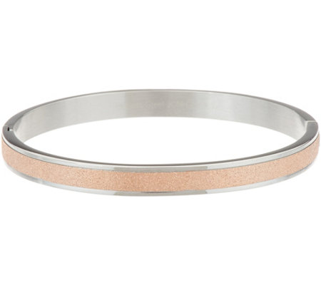 Stainless Steel Glitter Texture Bangle Bracelet
