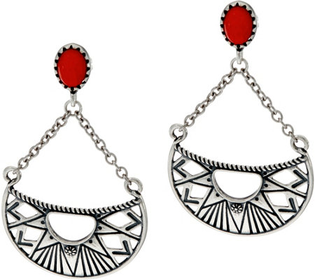 American West Red Coral Sterling Silver Sun Ray Dangle Earrings
