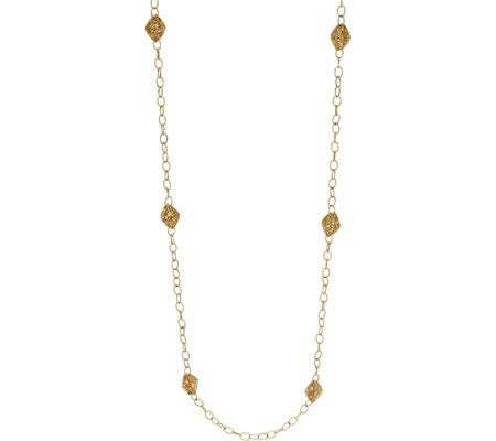 "Italian Gold 32"" Openwork Station Necklace 14K Gold, 13.7g"