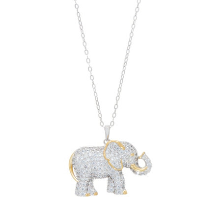 TOVA for Diamonique Elephant Pendant w/Chain Sterling