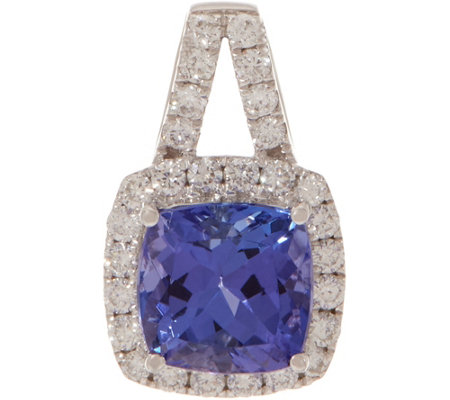 Cushion Cut Tanzanite and Diamond Pendant, 14K 1.40 cttw