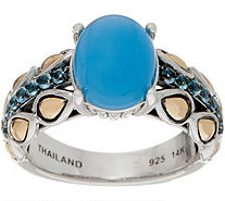 JAI Sterling Silver & 14K Gold Blue Agate Lotus Petal Band Ring - J353951