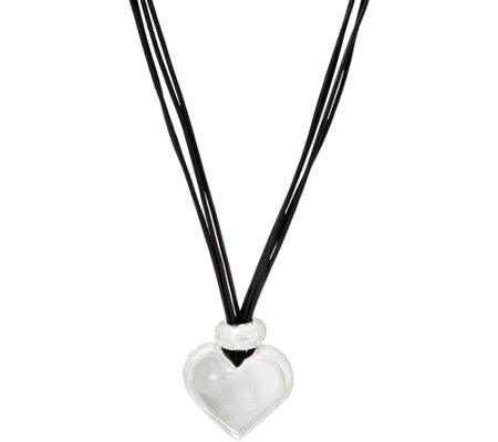 Simon Sebbag Sterling Silver & Leather Cord Pendant Necklace