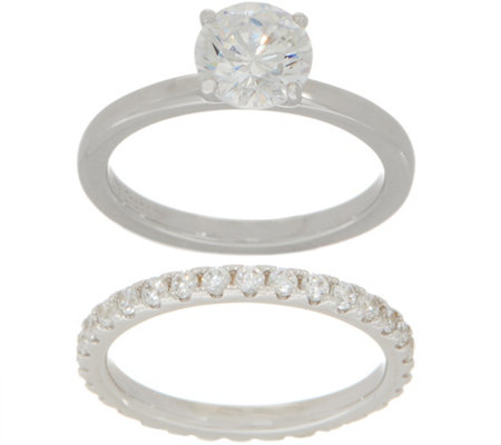 Diamonique Round Bridal Ring Set, Sterling Silver or 14K Clad