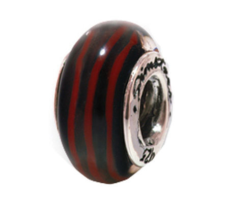 Prerogatives Sterling Silver Black and Red Glass Bead