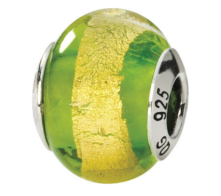 Prerogatives Sterling Green & Yellow Italian Murano Glass Bead