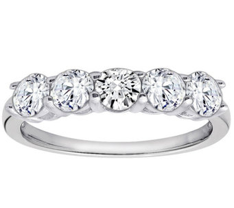 Diamonique 1.00 cttw 5 Stone Ring, Platinum Clad - J111652