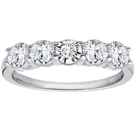 diamonique 100 cttw 5 stone ring platinum clad j111652 - Diamonique Wedding Rings