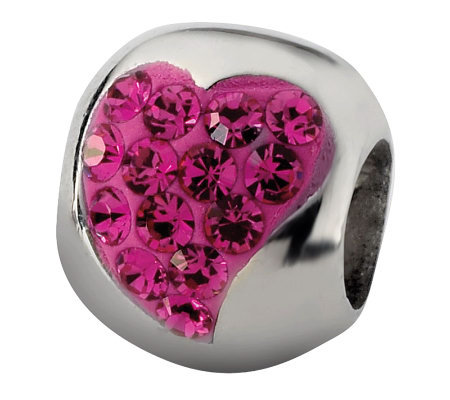 Prerogatives Sterling Fuchsia Crystal Small Heart Bead