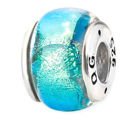 Prerogatives Sterling Blue Dichroic Glass Bead