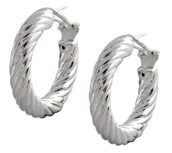 "UltraFine Silver 1-1/4"" Polished Twisted RoundHoop Earrings - J113952"