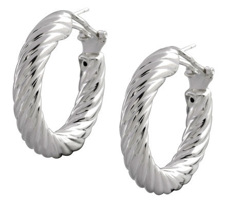 "UltraFine Silver 1-1/4"" Polished Twisted RoundHoop Earrings"