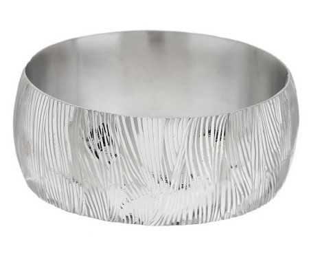 Vicenza Silver Sterling Average Engraved Textured Bangle