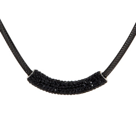 Stainless Steel Black Mesh Necklace with Crystal Accent
