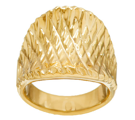 Oro Nuovo Bold Concave Diamond Cut Tapered Ring 14K