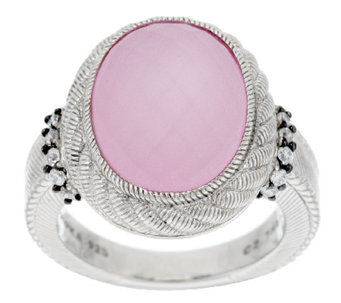 Judith Ripka Sterling Oval Doublet Gemstone and Diamonique Ring - J292252