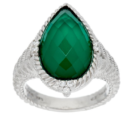 Judith Ripka Sterling Green Goddess Pear Shaped Doublet Ring
