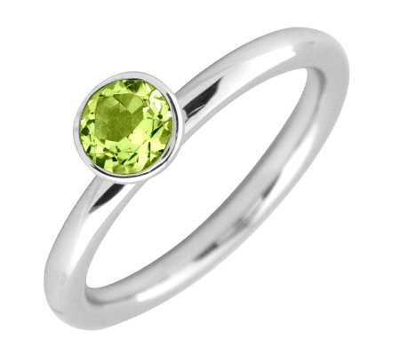 Simply Stacks Sterling 5mm Round Peridot Solitaire Ring