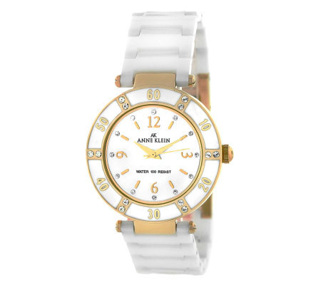 Anne Klein Ladies Swarovski Crystal Goldtone Bracelet Watch
