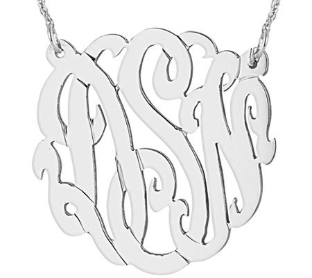 "Sterling 1-1/4"" Personalized Script MonogramNecklace"