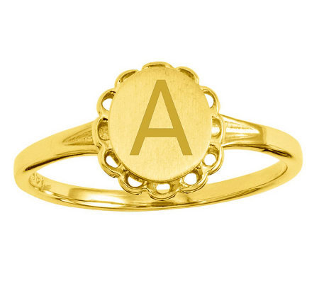 Personalized Satin Flower Design Signet Ring, 14K Gold
