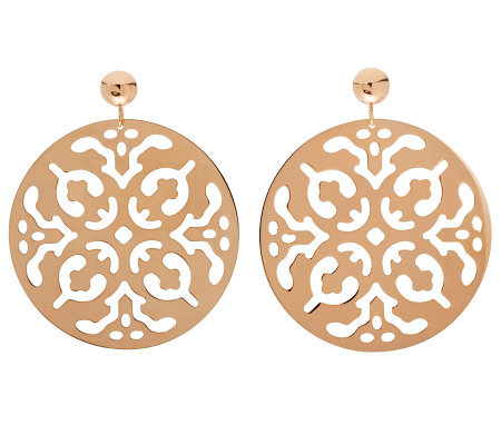 Bronzo Italia Polished Cutout Disc Dangle Earrings