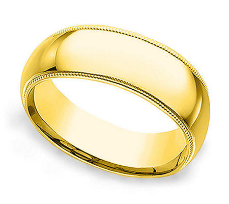 Sterling 7MM Unisex Milgrain Silk Fit Band R ing, 14K Clad