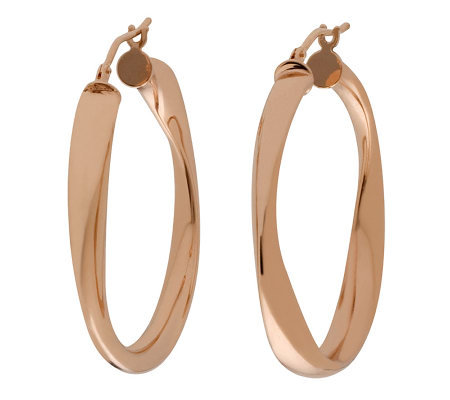 "Bronze 1-1/2"" Round Twisted Hoop Earrings by Bronzo Italia"