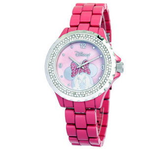 Disney Women's Minnie Pink Enamel Watch - J315552