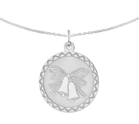 "Sterling Wedding Bells Round Disc Pendant w/ 18"" Chain"