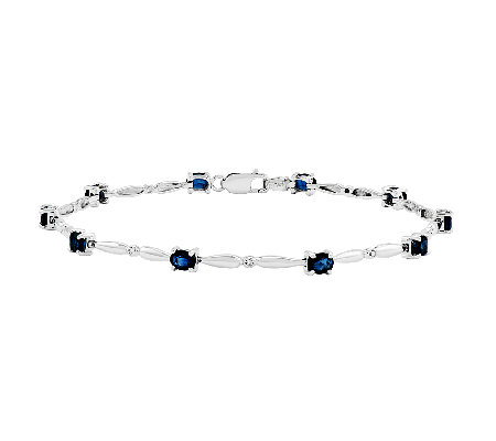"7"" Oval Gemstone w/ Diamond Accent Bracelet, 14 K White Gold"