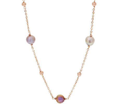 "Honora Ming Cultured Pearl 36"" Stationed Bronze Necklace"