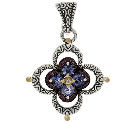 Barbara Bixby Sterling & 18K Iolite & Pink Garnet Double Flower Enhancer