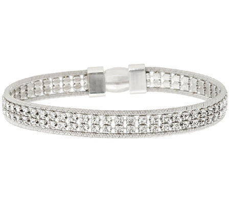Italian Silver Sterling Double Row Crystal Tennis Bracelet
