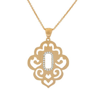 "Bronze Scroll Cut-Out Crystal Pendant w/18"" Chain by Bronzo Italia - J321952"