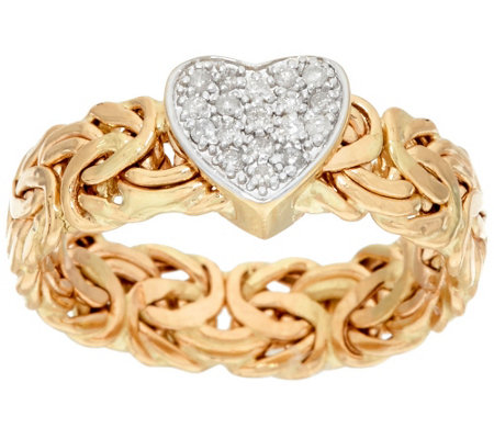 14K Gold Diamond Heart Byzantine Design Ring