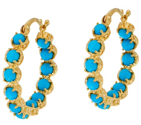 Sleeping Beauty Turquoise Sterling 18K Gold Plated Hoop Earrings