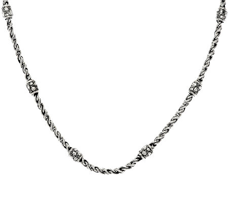 "JAI Sterling Croco Station & Woven Link Chain 18"" Necklace"