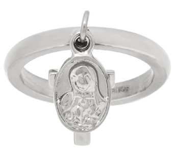 Stainless Steel Cross & Hail Mary Charm Ring - J323852