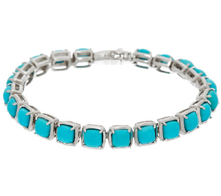 "Sleeping Beauty Turquoise 6-3/4"" Sterling Silver Tennis Bracelet"
