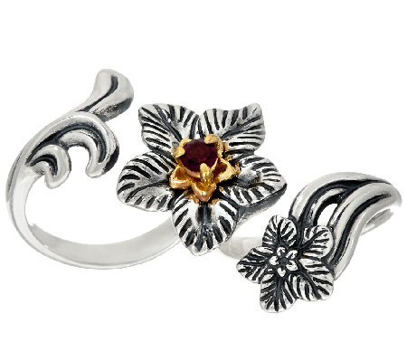 Carolyn Pollack Sterling Brass Desert Rose Double Finger Garnet Ring