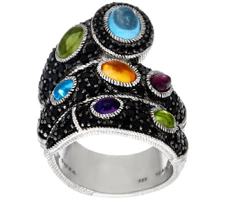 Judith Ripka Sterling Black Spinel & Multi-Gemstone Ring