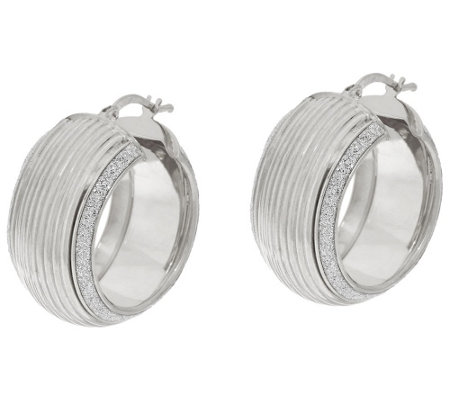"""As Is"" Vicenza Silver Sterling 1"" Ribbed Pave' Glitter Round Hoop Earrings"