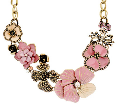 Joan Rivers Charming Blooms Enamel & Pave' Bib Necklace