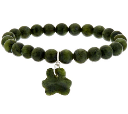 """As Is"" Connemara Marble Stretch Shamrock Bracelet"