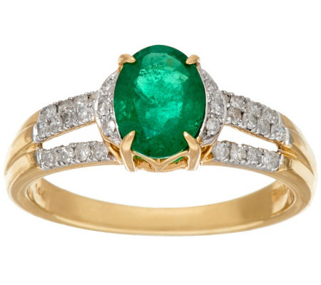 """As Is"" 1.00 ct Columbian Emerald & 1/4 ct Diamond Ring, 14K Gold"