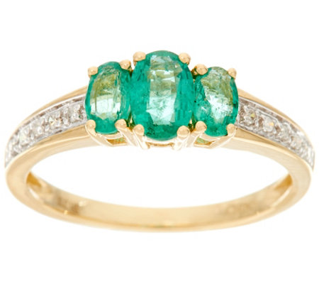 Oval 3-Stone Zambian Emerald Band Ring 14K Gold 0.65 cttw