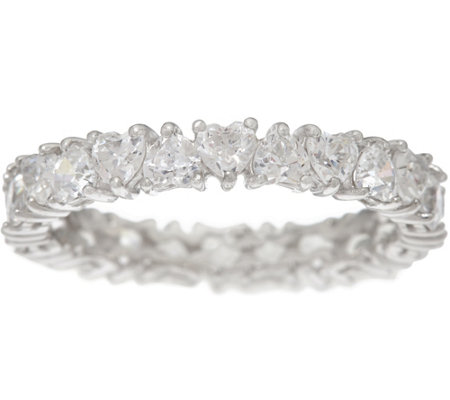 Diamonique Heart Eternity Band Ring, Platinum Clad